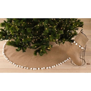 Pompom Design Jute Stocking or Tree Skirt (2 options available)