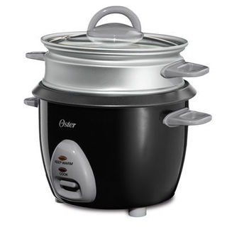 Oster 4724 Black 6-Cup Rice Cooker with Steam Tray