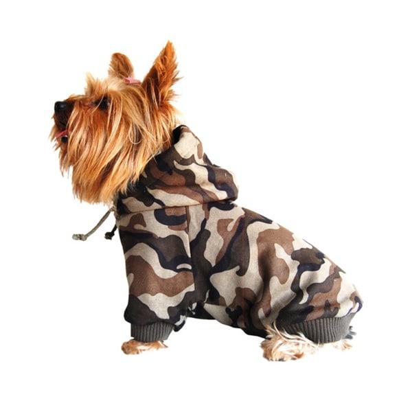 dd6e862421cb Shop ANIMA Camouflage Cotton Hoodie Dog Sweater - Green - Free ...