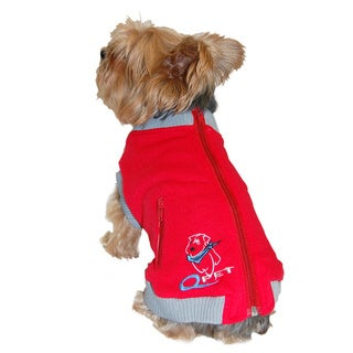 ANIMA Red Cotton Blend Zippered Dog and Pet Jacket Vest