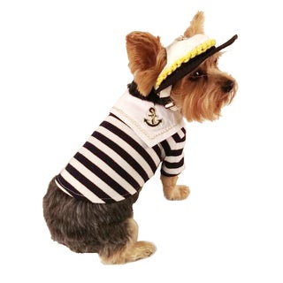 Anima Dark Blue and White Striped Sailor Theme Dog and Pet Shirt