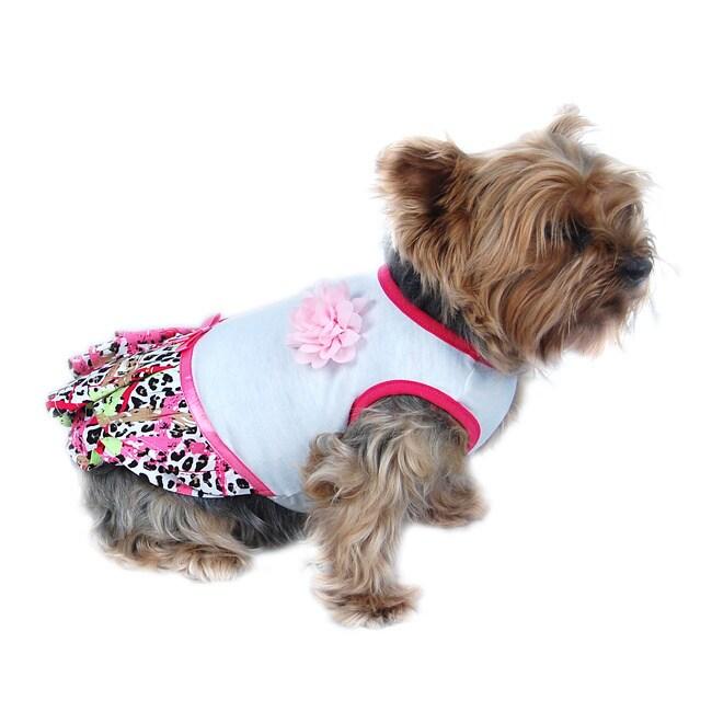 ANIMA Neon Leopard Print Dog Dress (XX-Small), Pink, Size...