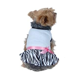 ANIMA Zebra Print Dog Dress - White