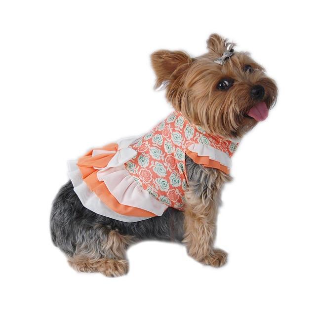 ANIMA Floral Rose Print Dog Dress (Small), Orange