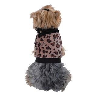 ANIMA Soft Coral Fleece Leopard Print Dog and Pet Sweater