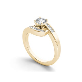 De Couer 14k Gold 3/4ct TDW Diamond Classic Bypass Ring