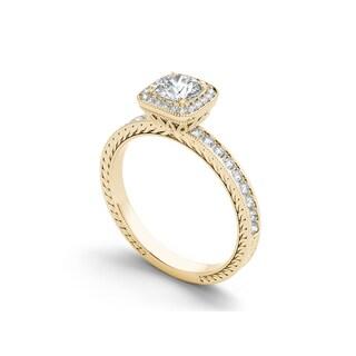 De Couer 14k Gold 1ct TDW Diamond Vintage Halo Engagement Ring