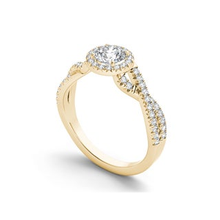 De Couer 14k Gold 3/4ct TDW Diamond Classic Criss-Cross Engagement Ring