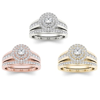 De Couer 10k Gold 7/8ct TDW Diamond Double Halo Engagement Ring Set