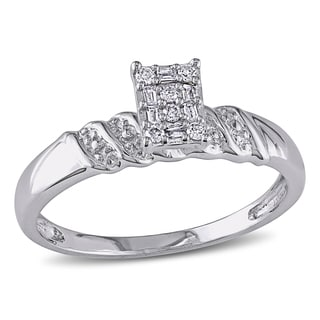 Miadora Sterling Silver 1/10ct TDW Diamond Engagement Ring