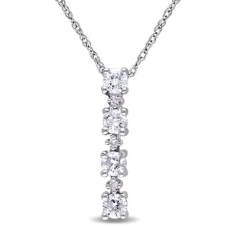 Miadora 10k White Gold 1/3ct TDW Diamond Journey Necklace (G-H, I2-I3)