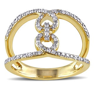 Miadora 10k Yellow Gold 1/4ct TDW Diamond Open Space Geometric Vertical Link Ring (G-H, I2-I3)