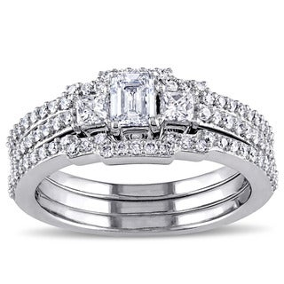 Miadora Signature Collection 10k White Gold 1ct TDW Diamond Emerald Cut Bridal Ring Set (G-H, I1-I2)