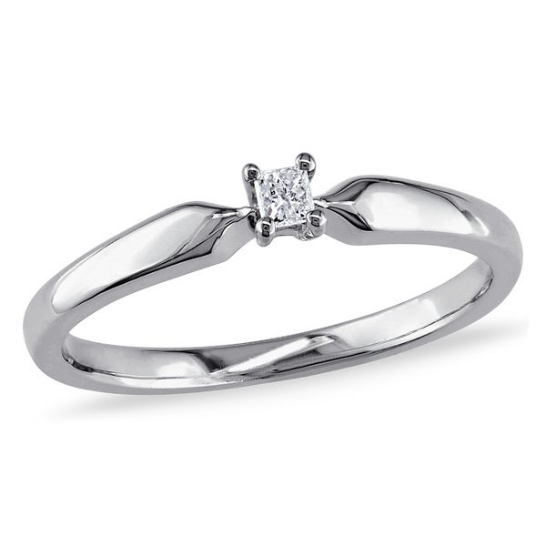 Miadora Sterling Silver Princess-cut Diamond Accent Solitaire Promise Ring