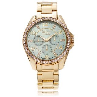 Geneva Platinum Women's Rhinestone Accent Color Dial Link Watch