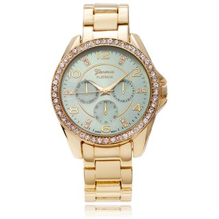 Geneva Platinum Women's Rhinestone Accent Color Dial Link Watch - Green