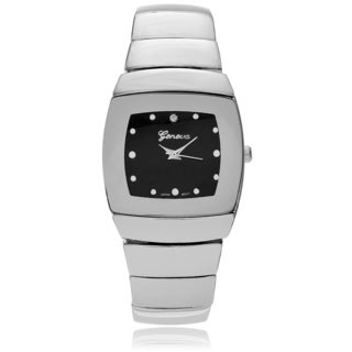 Geneva Platinum Men's Square Face Link Watch