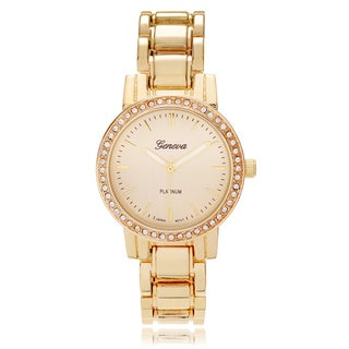 Geneva Platinum Women's Rhinestone Accent Link Watch