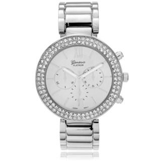 Geneva Platinum Women's Rhinestone Accent Hinged Cuff Watch - Silver
