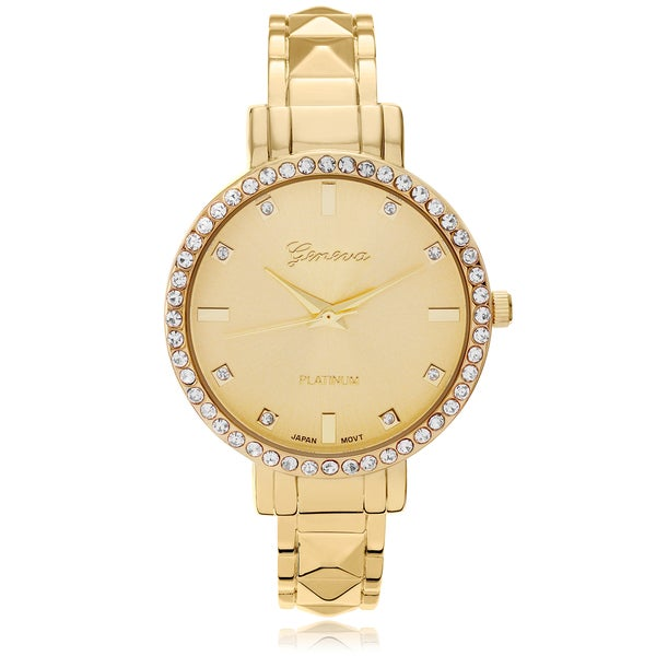 Geneva Platinum Women's Rhinestone Accent Adjustable Cuff Watch - Gold