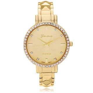 Geneva Platinum Women's Rhinestone Accent Adjustable Cuff Watch - Gold