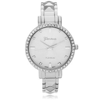 Geneva Platinum Women's Rhinestone Accent Adjustable Cuff Watch - Silver