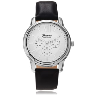 Geneva Platinum Round Leather Strap Watch