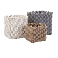 Adorable Natural Cotton Rope Baskets - Set of 3