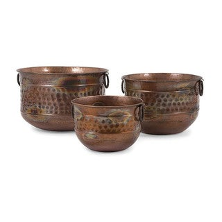 Sascha Burnished Copper Planters (Set of 3)