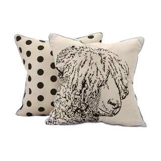 Sampson Sheep Embroidered 18-inch Throw Pillow