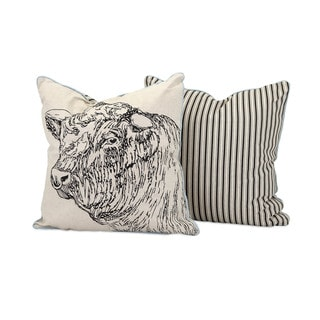 Jackson Bull Embroidered 18-inch Throw Pillow
