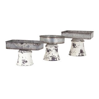 Classic Peterson Metal Pedestal Trays - Set of 3