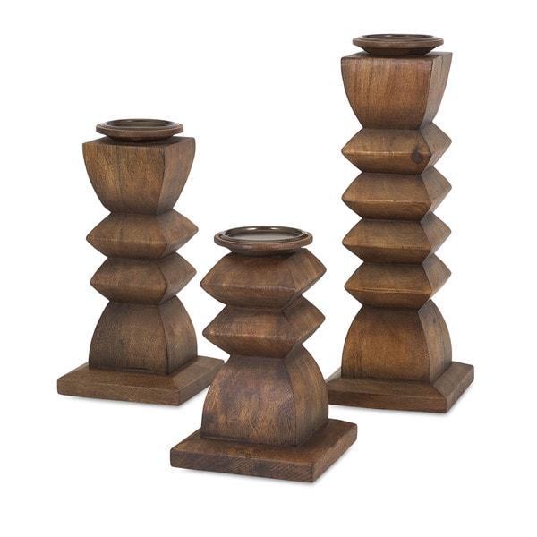 Desta Wood Candle Holders (Set of 3)