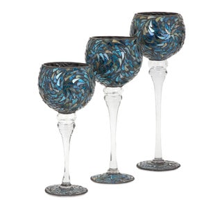 Peacock Mosaic Votive Holders (Set of 3)