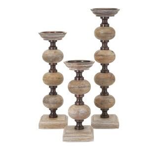 Nahla Wood Candle Sticks (Set of 3)