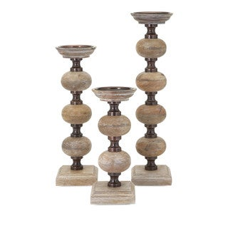 Strick & Bolton Dinah 3-piece Wood Candle Sticks Set