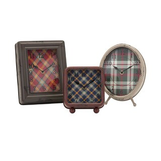 Riley Plaid Metal Clocks (Set of 3)