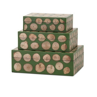 Peyton Wood Disc Boxes (Set of 3)