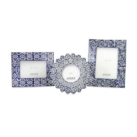 Lucenda Blue and White Ceramic Frames (Set of 3)