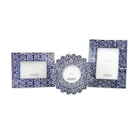 Lucenda Blue and White Ceramic Frames (Set of 3)