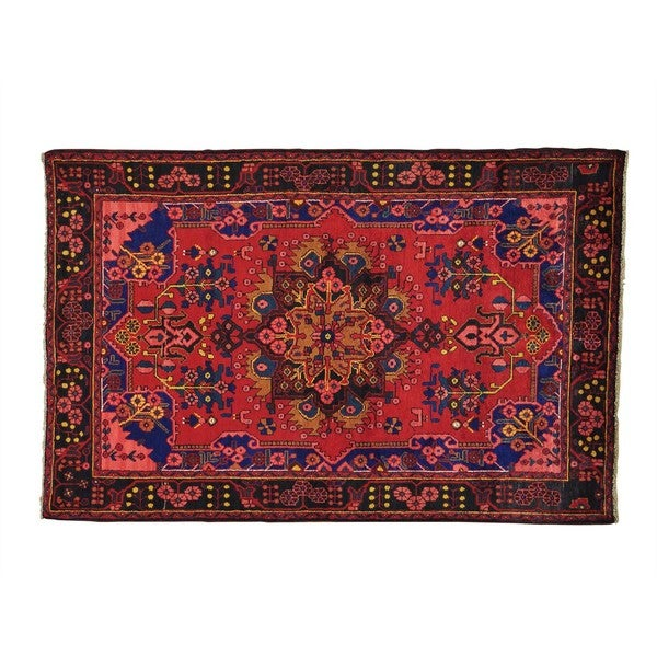 Full Pile Persian Nahavand Hand-Knotted Oriental Rug (4'9 x 7'4)