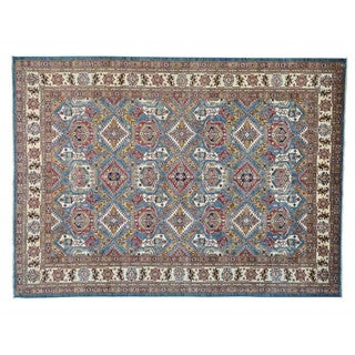 Tribal Design Super Kazak Oriental Rug Hand-Knotted (9'2 x 12'7)