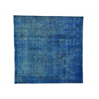 Square Worn Down Overdyed Persian Tabriz Hand-Knotted Rug (9'5 x 9'6)