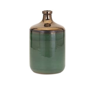 Melenia Medium Green and Bronze Vase