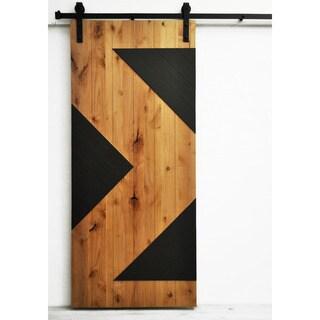 Dogberry Zig Zag 36 x 82 inch Barn Door with Sliding Hardware System