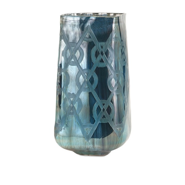 Piper Blue Large Etched Vase Free Shipping Today Overstock