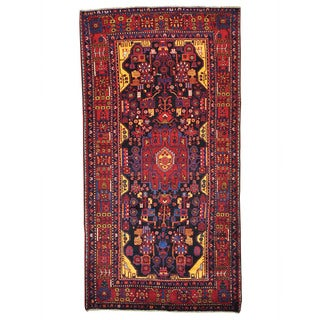Hand-Knotted Full Pile Persian Nahavand Oriental Rug (5' x 9'7)