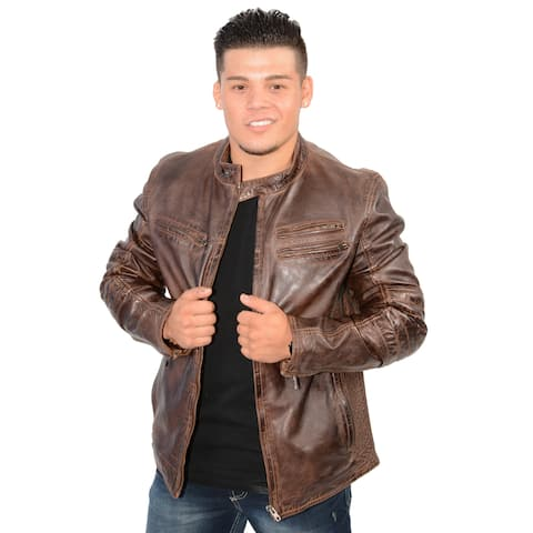 Milwaukee Leather Men's Lambskin Leather Side Stitch Euro Collar Jacket