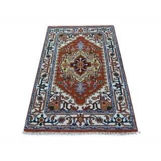 Serapi Heriz Handmade Tribal Design Rust Red Oriental Rug (3' x 5')
