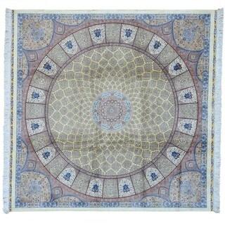 Square Tabriz Gumbad Signed Handmade Oriental Rug (6'10 x 6'10)